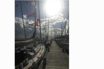 "Herbstsonne über dem ""NRV Steg"" in Hörup Hav"